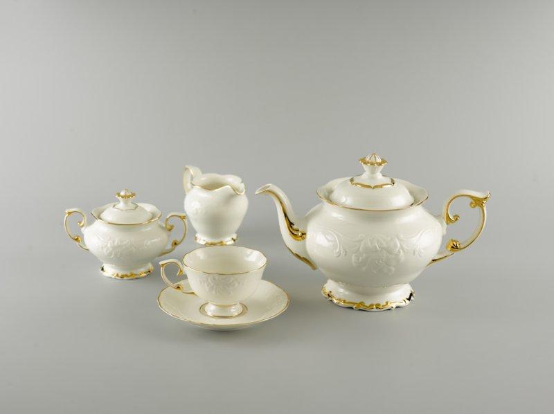 Bộ ấm trà sứ Minh Long Đài Các viền chỉ vàng 1.3L
